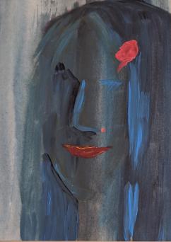 Jagoda-Kwiatkowska-DAMA-Z-RÓŻYCZKĄ-akryl-papier-collage-42x29
