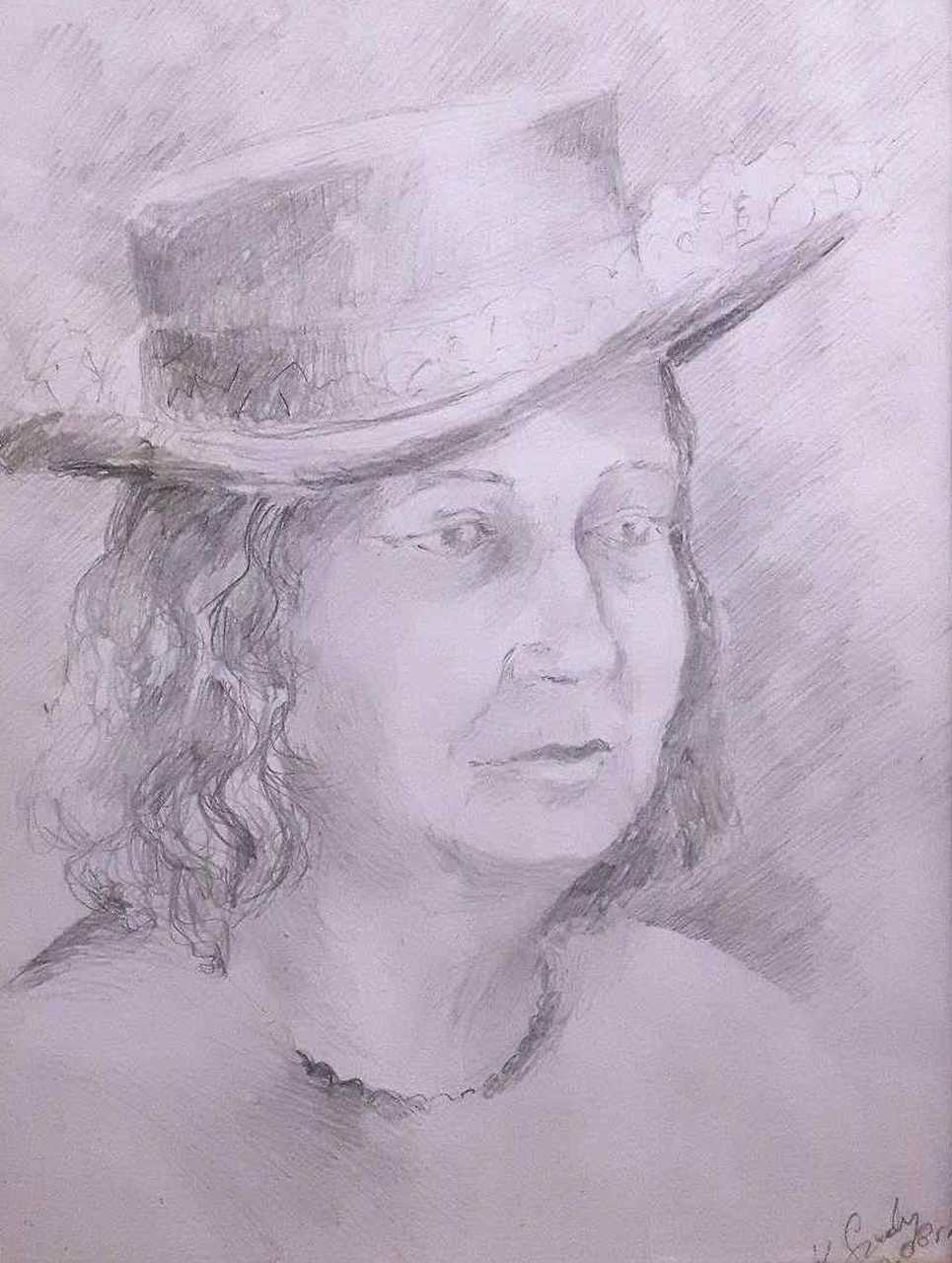 Krystyna-Mirska-Szedny-DAMA-BEZ-MASECZKI-ołówek-39x28