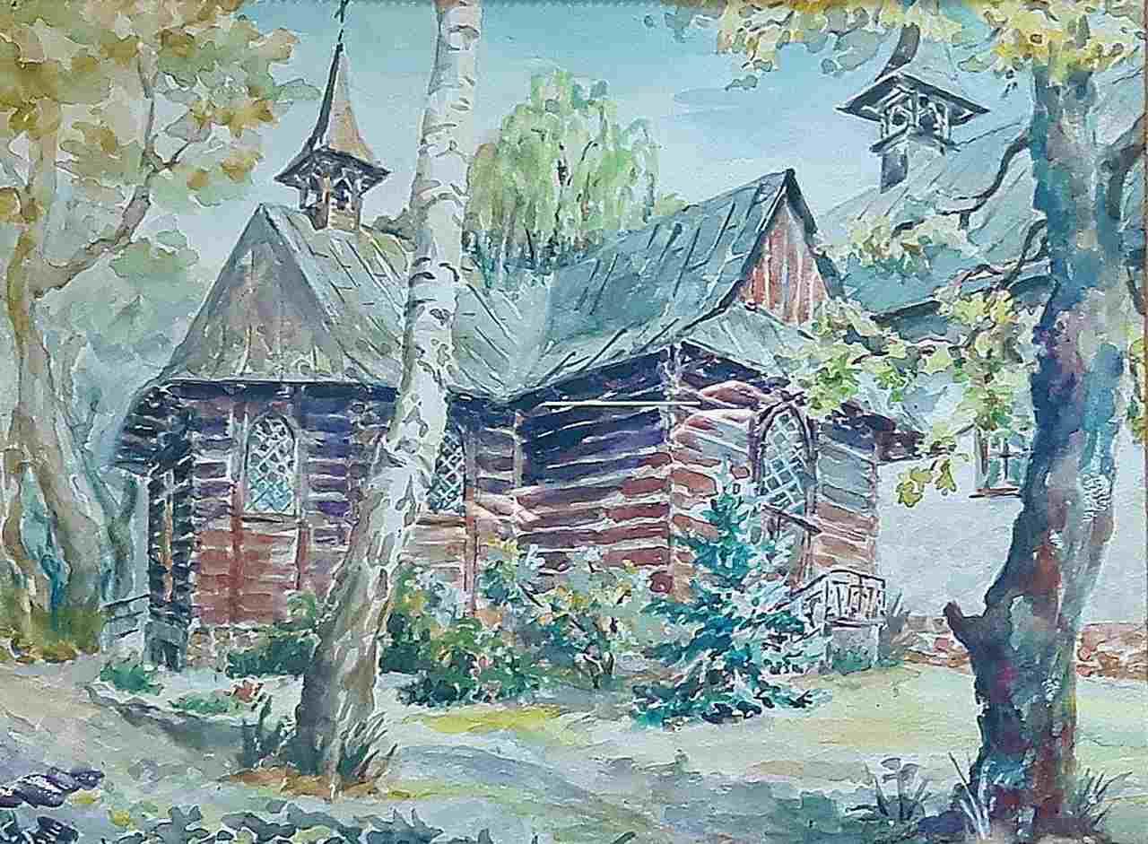 Krystyna-Mirska-Szedny-OSTOJA-WIARY-ZALESIE-GÓRNE-akwarela-40x50