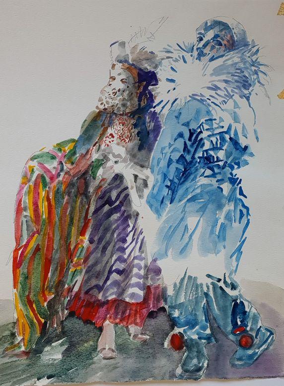 Włodzimierz-Karczmarzyk-Bez-maski-w-weneckich-karnawałach-to-zubożenie-tradycji.-Akwarela-papier-62x49-cm