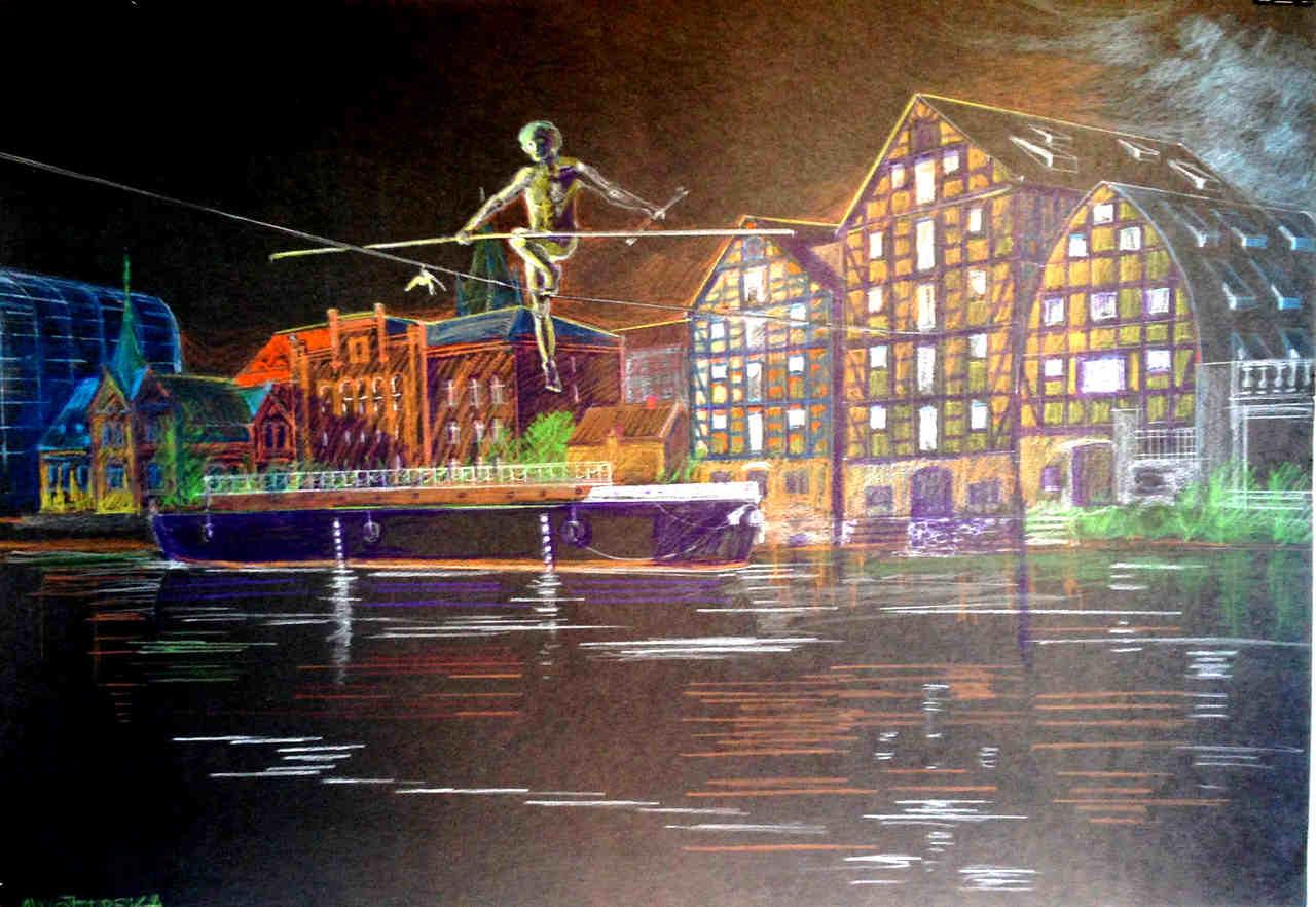 "Anna Wojterska -""Nocna przechadzka""- pastel, 70x100"