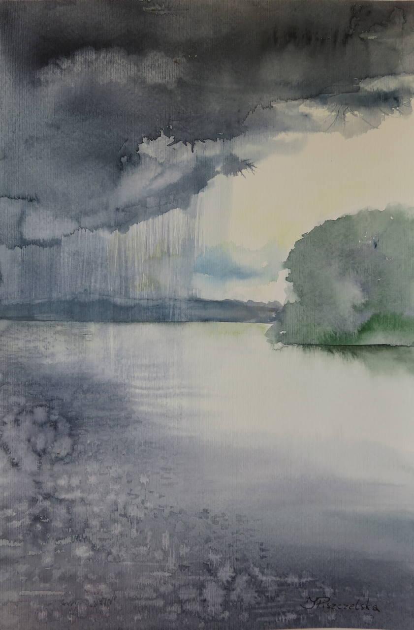Iwona Piszczelska - Między mną a drugim brzegiem - Akwarela - 45x30