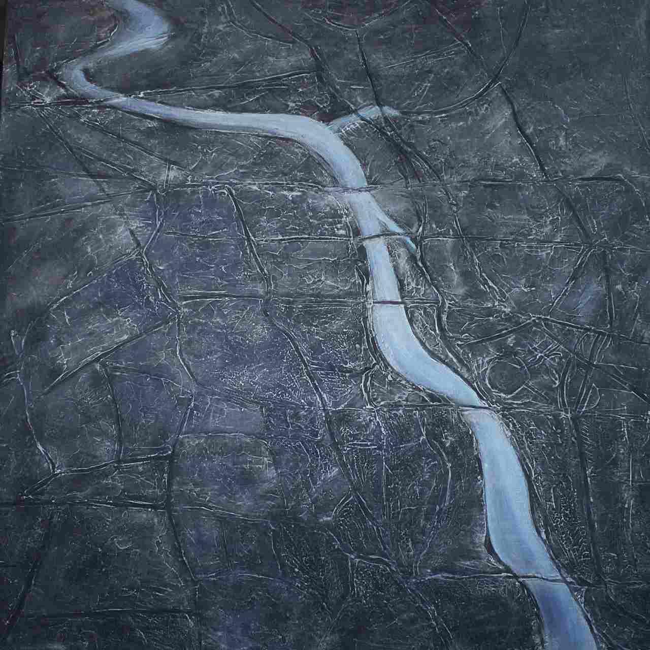 Joanna Adamek - Rzeka w mieście - Akryl - 80x80