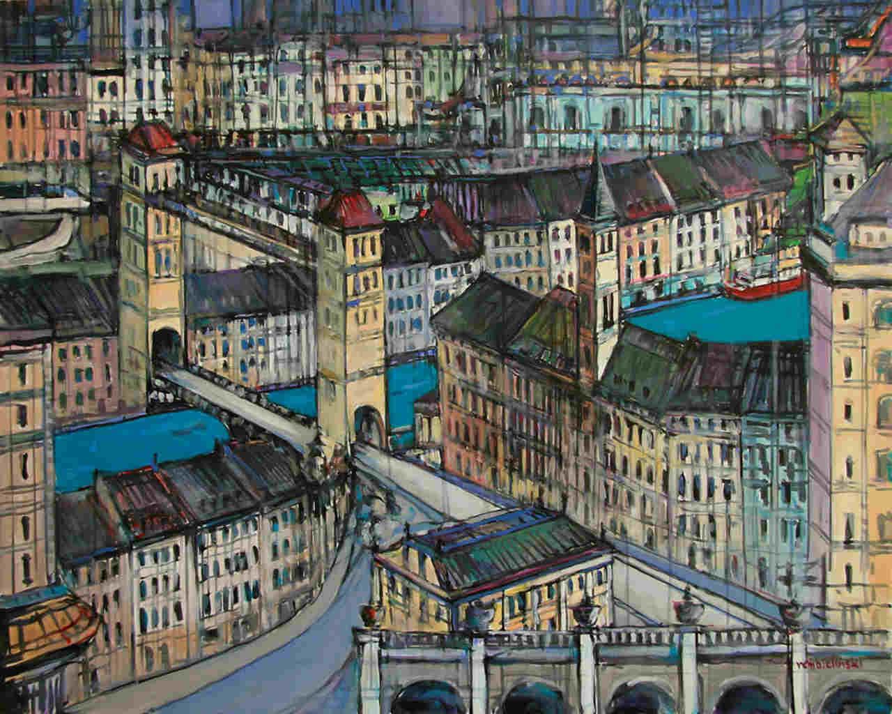 Piotr Rembieliński - Za rzeką-  Olej na płótnie - 60x80-cm