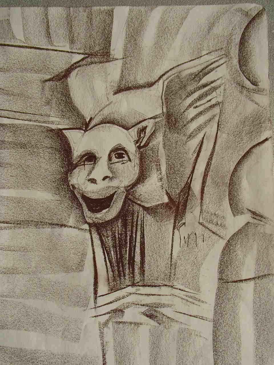 Ryszarda Łucja Jagielska - Rzeźba z  Notre Dame de Paris nad Sekwaną  - Szkic sepią - 40x30