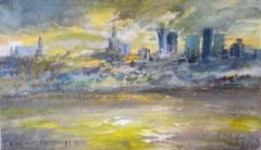 Włodzimierz-Karczmarzyk-Warszawa-Panorama-miasta-widok-przez-Wisłę-olej-płótno-42-x-70-cm