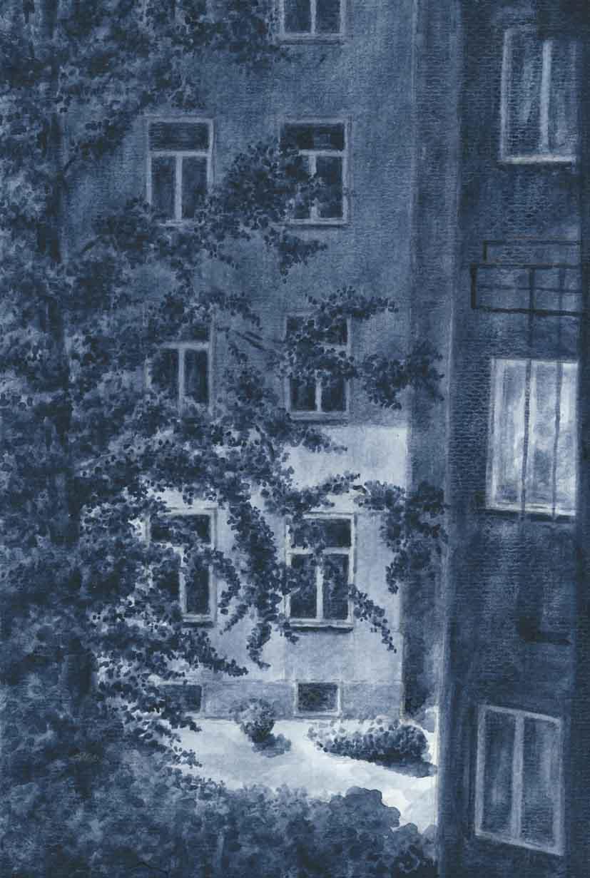 Ewa Anna Wasiutyńska WARSZAWSKIE PODWÓRKO akwarela 21x30