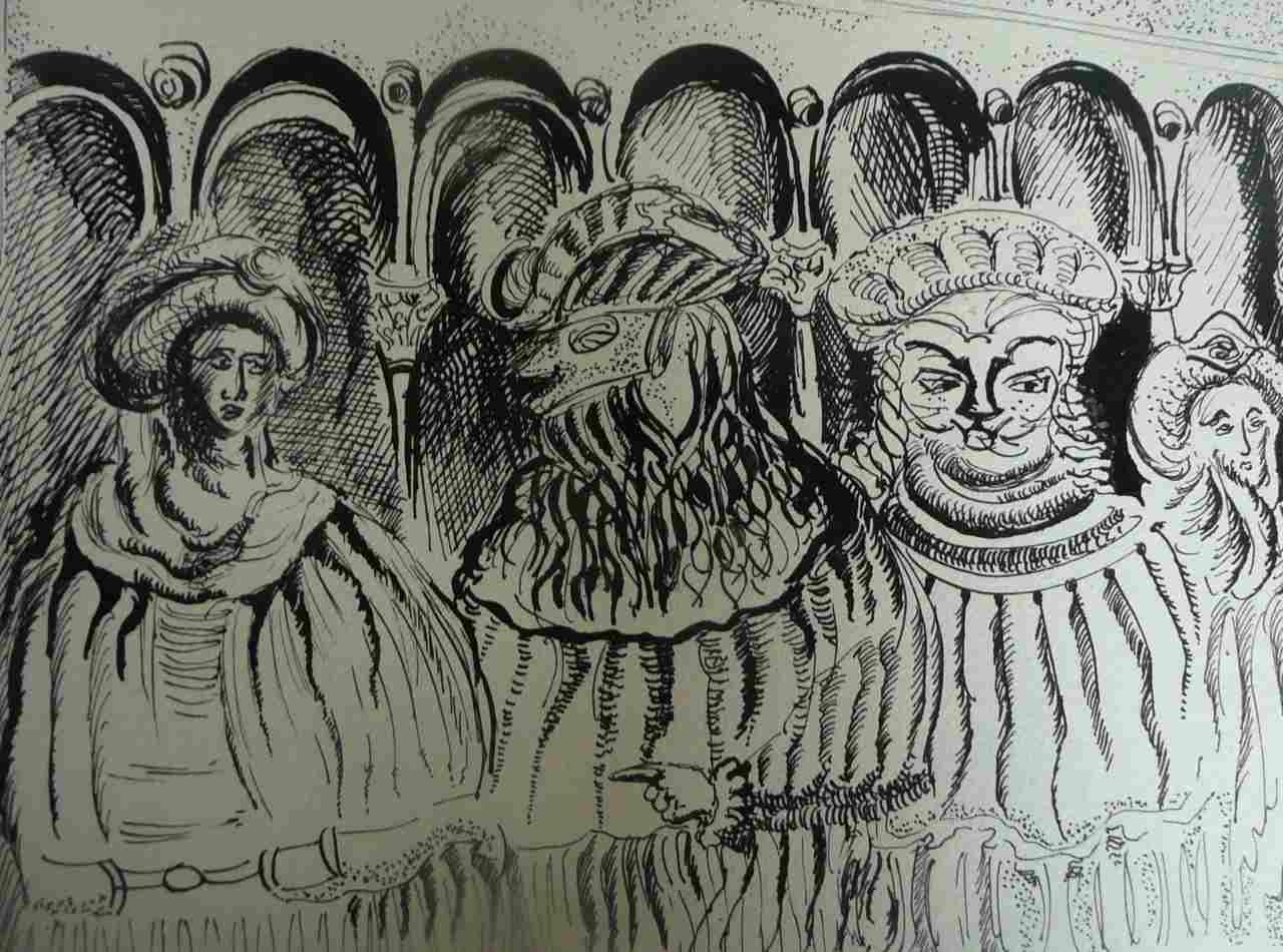 Krystyna-Guranowska-Stolarz-WENECKIE SZALEŃSTWO   - rysunek tuszem na papierze A-3