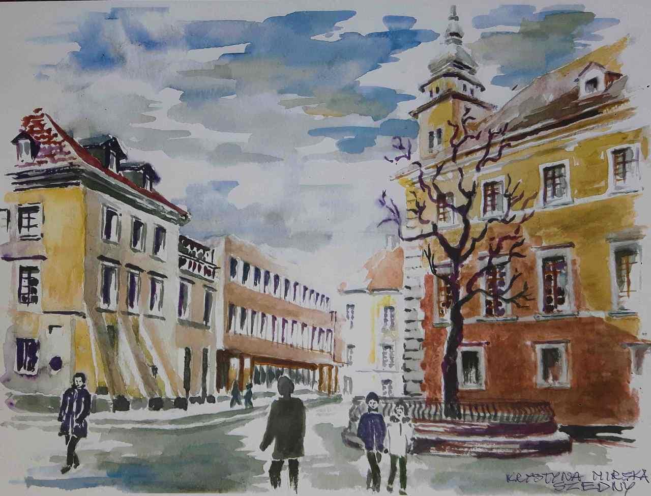 Krystyna-Mirska-Szedny-PLAC-ZAMKOWY-W-WARSZAWIE-akwarela