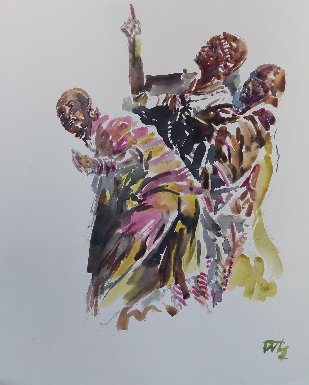 Włodzimierz Karczmarzyk W KARNAKU  EGIPT NA CEREMONII  OTWARCIA  WYSTAWY  AFRYKAŃSKIEJ  POPIS  GRUPY MASAJÓW  W ROKU  1973 akwarela 56x46