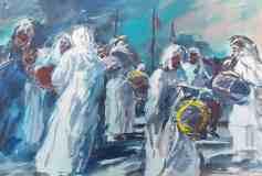 Włodzimierz Karczmarzyk W DUBAJU  NA WESELU  SZEJKA  MUHAMMED BIN  RASZIDA AL MAKTUMA W ROKU 1979 akwarela gwasz 32x47